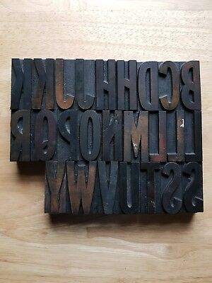 "2.28"" Letterpress Wood Type . Printing font. 25 pieces. Condition: Loved."