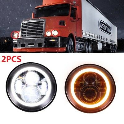 2x 7inch Round Led Headlight Hi-Lo Beam Halo Angle Eye For Freightliner Coronado