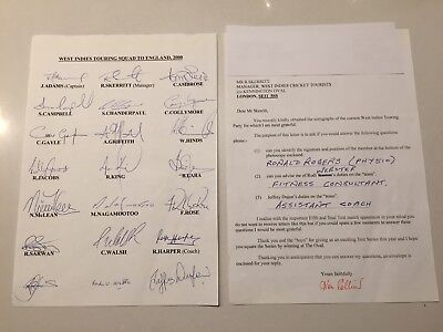West Indies Cricket Squad Autograph Signed Cricketers Team Sheet 2000 To England
