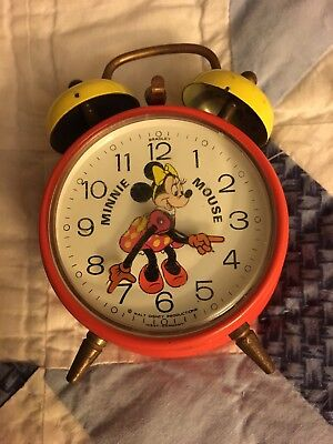 Vintage Minnie Mouse Rare Alarm Clock Bradley West Germany Red Yellow