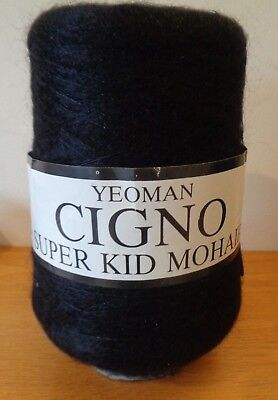 NEW - Yeoman Cigno Super Kid Black Mohair Wool - 367 g on Cone