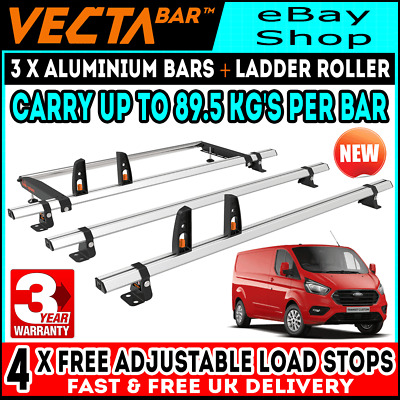 Ford Transit Custom Roof Rack Bars x3 With Roller Used For Ladders SWB & LWB Van