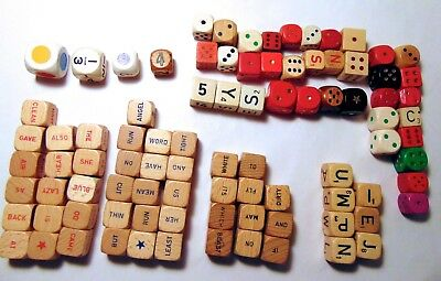 Lot of 90 Vintage Assorted WOODEN wood Dice