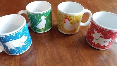 987cf034563 SET OF 4 Farm Animal Country Mugs Cups pig cow rooster goose ...