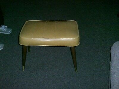 Vintage Rectangle Gold Vinyl Foot Stool Mid Century Ottoman Retro Foot Stool