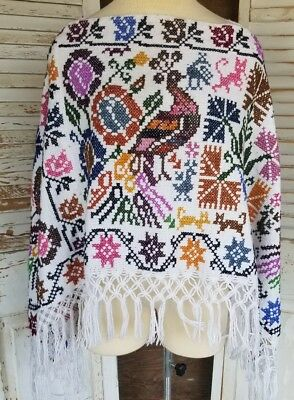 Mexican Fringed Quechquemitl  Poncho Hippie Ethnic Sm Cross Stitch Embroidery