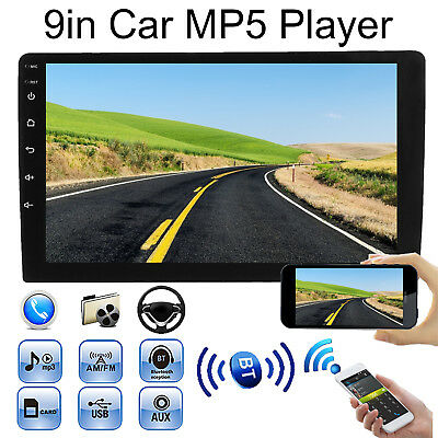 "9"" HD Single 1 Din Car Stereo Radio FM/MP5 Player Bluetooth Touch Screen USB/AUX"
