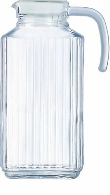 Circleware 66550 Frigo Ribbed Glass Beverage Drink Pitcher with Lid and Handl...