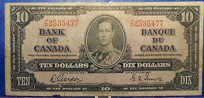 CANADA 10 dollars 1937 Gordon-Towers Prefix Y/D  #139