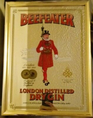 Vintage Bar Mirror BEEFEATER London Distilled Dry Gin Man Cave Bar Mirror NICE!