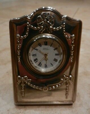 Solid Silver Fronted Small Clock - Sheffield 1994 - Vgc - Working