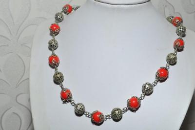 Lovely Vintage Art Deco Filigree Necklace With Bright Scarlet Beads