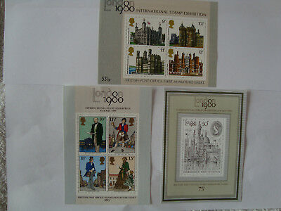 First Three Gb Miniature Sheets Mint Mnh - Great Collectors' Items