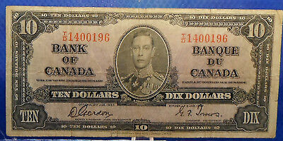CANADA 10 dollars 1937 Gordon-Towers Prefix T/D  #142
