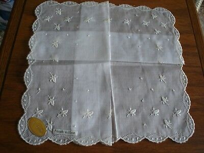 Lovely Vintage White Handkerchief French Val Lace Floral Scalloped Edge Hankie