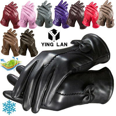 New Womens Ladies Winter Warm Genuine Leather Gloves Thermal Insulation Lambskin
