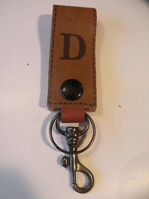 Initial Brown Leather Key Fob - D 8cm x 3cm Excluding Rings