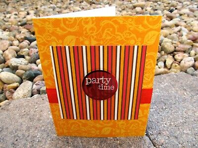 Handmade Birthday Greeting Card Party Time Fall Colors Orange Red