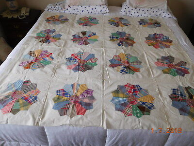 """Vintage Colorful Dresden Plate Hand & Machine Sewn Unfinished Quilt Top 65"""" Squa"""
