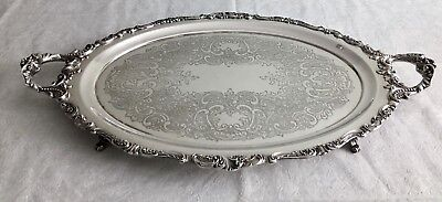 "Vintage Baroque Wallace 294F Silverplate Footed Waiter Tray - 28 3/4"" x 18"""