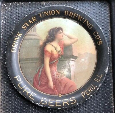 Star Union Brewing Beer Tin Litho Advertising Tip Tray Peru Illinois Victorian