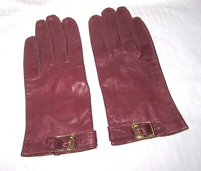 Vintage Ladies Dress Gloves - Burgundy, Genuine Leather, Size 6 1/2