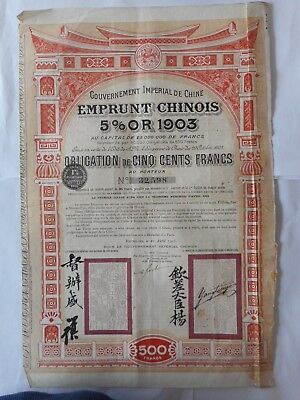 Chine China Chinese 1903 5% Or Gold 1903 - 1907
