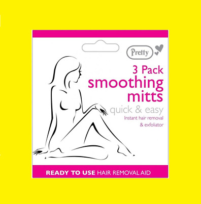 Hair Removal Smoothing Mits Pack Of 3 Easy To Use Pain Free Instant Hair Removal