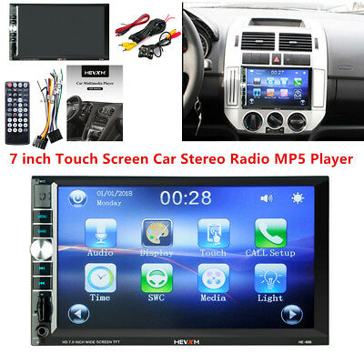 """7"""" 2DIN HD Car Stereo Radio MP5 Player Bluetooth AUX Touch Screen & Rear Camera"""
