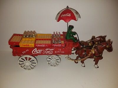 Vintage Cast Iron Coca Cola Horse Drawn Wagon with Bottles Crates & Driver