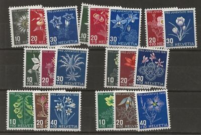 Switzerland Lot Flowers On Semi-Postal Mlh Stamps