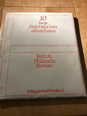 STAMPS - 10 LARGE FIRST DAY COVER ALBUM LEAVES . ( Royal Mail Product )