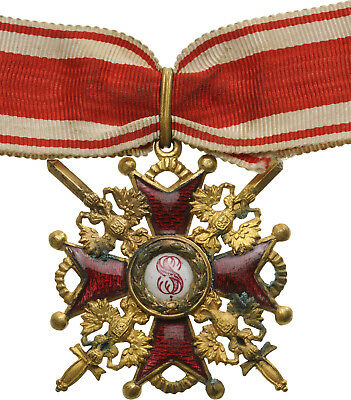 Russia St. Stanislav Order With Swords 3Rd Class On Ribbon