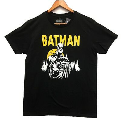 DC Comics Men's Batman Graphic Yellow Text Licensed T-Shirt Black Size Large New