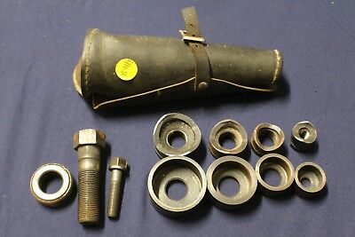 Vintage Greenlee Tool Knockout Punches No. 735BB in Leather Case  F3B7