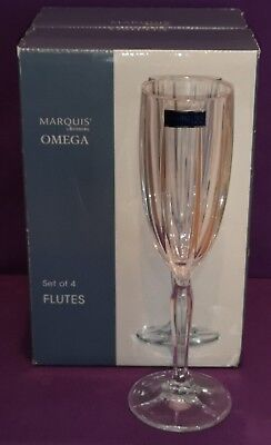 Marquis by Waterford OMEGA Set of 4 Lead Crystal Wine Flutes New Made Germany