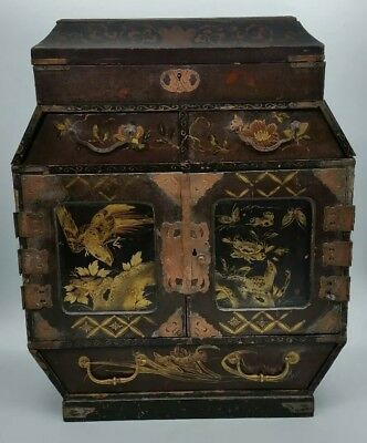 Antique Japanese Lacquered Hand Painted Collectors Specimen Cabinet c1890 LOOK!