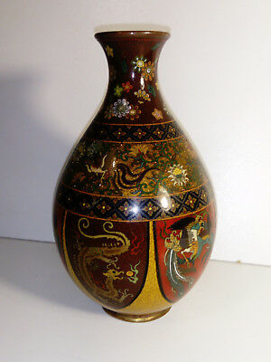 ANTIQUE CHINESE CLOISONNE VASE DAMAGE to Body - Dragon and Bird decoration