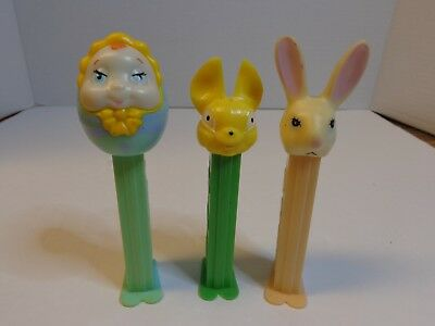 Lot of 3 Discontinued PEZ Dispensers Rabbit Bunny AND Baby NICE