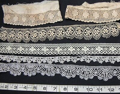 """Lot of Antique French Cluny Lace Trim for Projects  - Dolls  139"""" Total & Cuffs"""