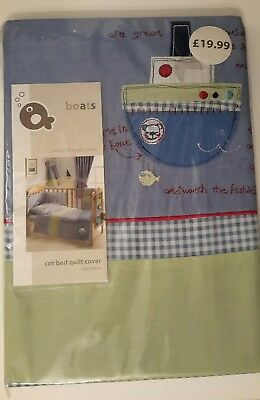 Dunelm cot-bed quilt cover, 120x150cm, Sailing Boats, NEW