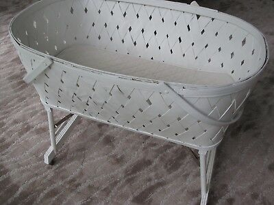VINTAGE WOOD SLAT WOOVEN BABY BASSINET with skirt