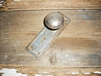 Vtg Rustic Chippy Shabby Paint&chromed Door Knob & Back Plate Nice Aged Patina