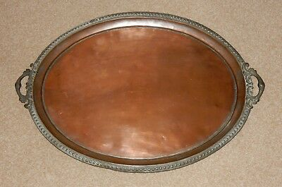 Old Large Tinned Copper Serving Tray Possibly Persian