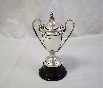 Small Silver Trophy Cup & Cover 1935 Walker & Hall No Engraving