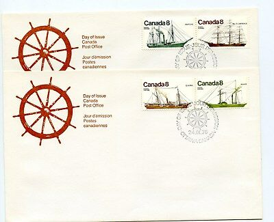 Canada FDC #670-73 Pairs Coastal Vessels  1975 Ships 38-A