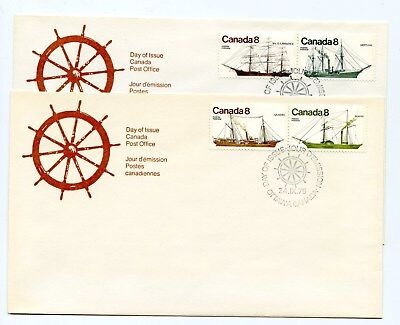 Canada FDC #670-73 Pairs 2 Coastal Vessels  1975 Ships 38-A