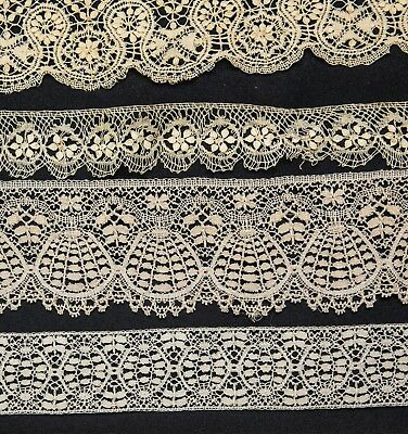 """Lot of Antique French Cluny Lace Trim for Projects Dolls  90"""" Useable"""