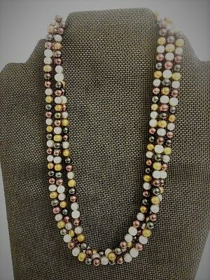 Beautiful 3-strand Multitoned Beaded Necklace from the Smithsonian Catalogue