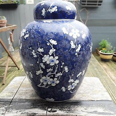 Antique Large Blue And White Prunus Jar With Lid